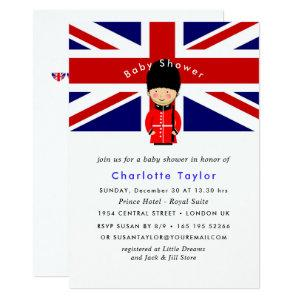 London Union Jack Theme Baby Shower Invitation