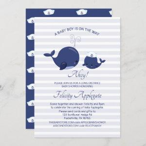 Long Distance Nautical Blue Whale Boy Baby Shower