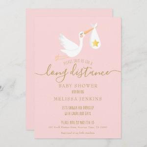 Long Distance Pink Baby Girl Shower By Mail Invitation