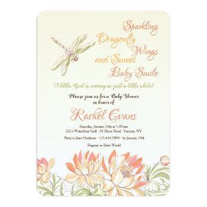Lotus Flowers and Dragonfly Invitation
