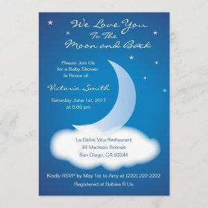 Love You to the Moon and Back Baby Shower - Blue Invitation