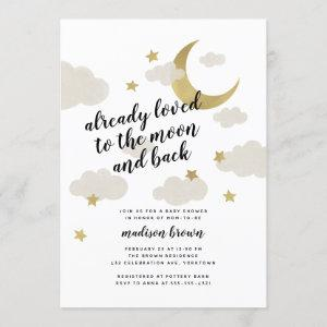 Loved to the Moon and Back Baby Shower Gold Invitation