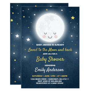 Loved To The Moon And Back Baby Shower Invitation