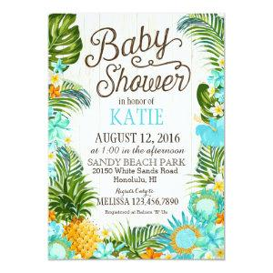 Luau Hawiian Beach Rustic Baby Shower Invitation