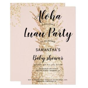 Luau party Aloha baby shower light gold pineapple Invitation