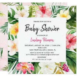Luau Tropical Leaves Summer Square Baby Shower Invitation