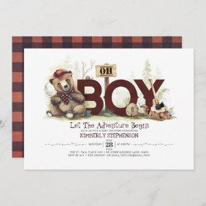 Lumberjack Baby Shower Woodland Little Bear Cub Invitation