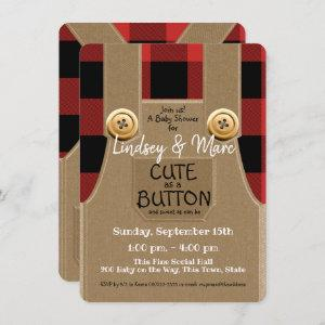 Lumberjack Flannel Cute as a Button Baby Shower