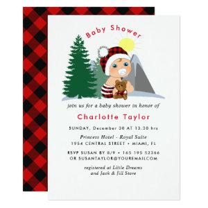 Lumberjack Red Black Plaid Cute Baby Shower Invitation