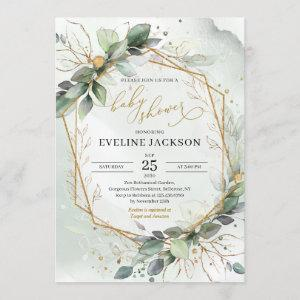 Lush greenery eucalyptus and faux gold baby shower invitation
