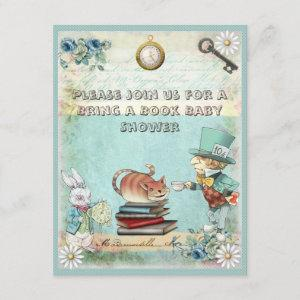 Mad Hatter & Cat Bring a Book Baby Shower Invitation