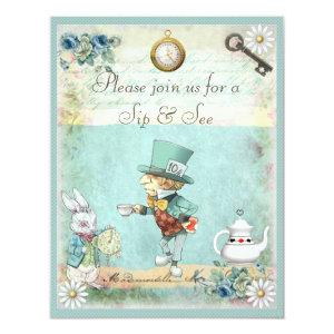 Mad Hatter Sip & See Baby Shower Invitation