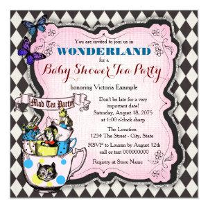 Mad Hatter Tea Party Wonderland Baby Shower Invitation