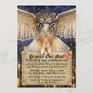Magic Owl Mail Letter for a Wizard Baby Shower Invitation