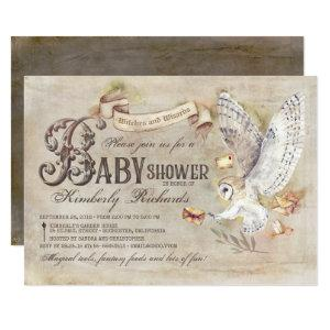 Magic Owl Wizard Witch Fairy Tale Baby Shower Invitation