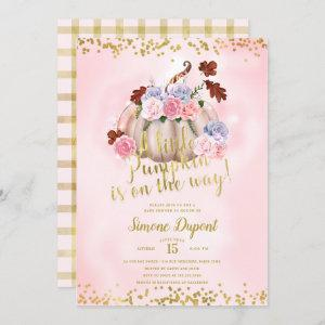 Magical Floral Little Pumpkin Girl Baby Shower Invitation