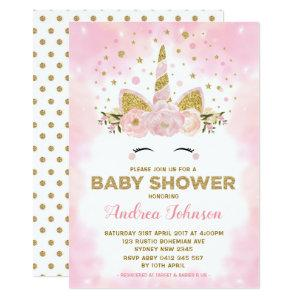 Magical Unicorn Pink Clouds Girl Baby Shower Invitation