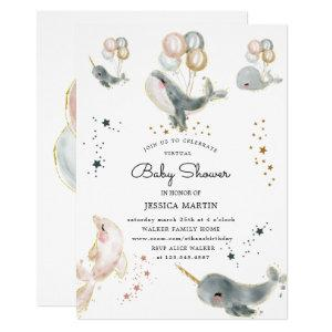 magical whales and stars virtual baby shower invitation