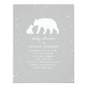 Mama and Baby Polar Bear Neutral Baby Shower Invitation