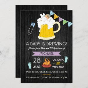 Men's Baby Shower Dadchelor Beer and BBQ Party Invitation