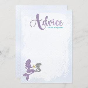 Mermaid Baby Shower Advice for the parents Cards