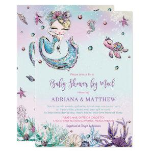 Mermaid Baby Shower by Mail Long Distance Virtual Invitation