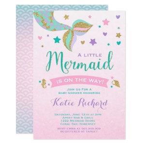 Mermaid Baby Shower Invitation Pink Teal Purple