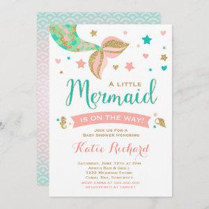 Mermaid Baby Shower Invitation Teal Coral Gold