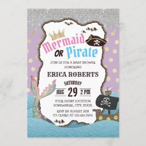 Mermaid or Pirate Purple & Gold Dots Baby Shower Invitation