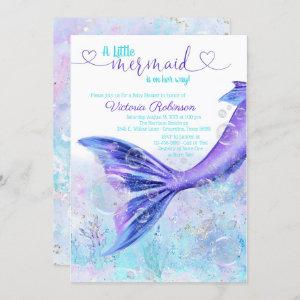 Mermaid Tail Baby Purple Teal Blue Baby Shower Invitation