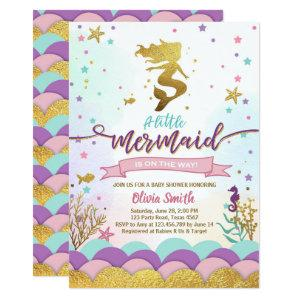 Mermaid Under The Sea Baby Shower Invitation Girl
