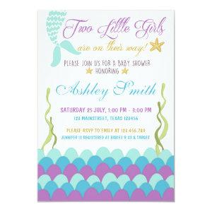 Mermaid Under The Sea Twins Baby Shower Invitation