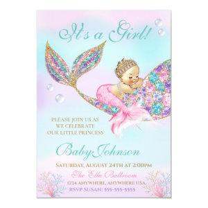 Mermaid Vintage  Baby SHower Glitter Tail Invitation