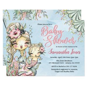 Mermaid Watercolor Baby Shower Invitation