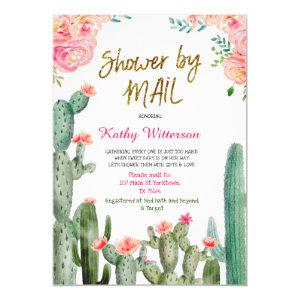 Mexican Cactus Baby Shower by Mail Invitation