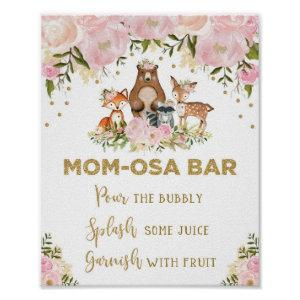 Mimosa Mom-osa Bar Sign Girl Woodland Baby Shower
