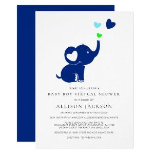 Minimal Baby Boy Virtual Shower Blue Elephant Invitation