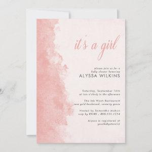 Minimalist Ink Wash Texture Its a Girl Baby Shower