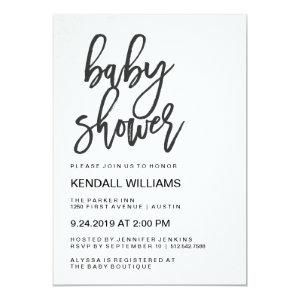 Minimalist Modern Typography Unisex Baby Shower Invitation