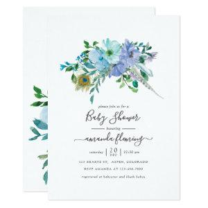Mint and Blue Watercolor Boho Floral Baby Shower Invitation