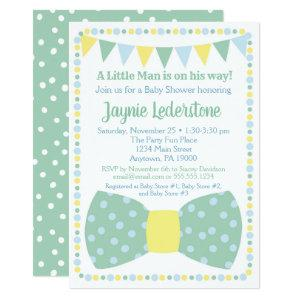 Mint Blue Bow Tie Baby Shower Invitation