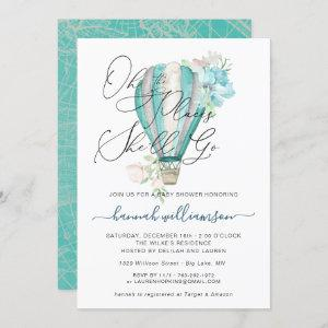 Mint Floral Hot Air Balloon Baby Shower Invitation
