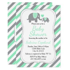 Mint Green and Gray Elephant 🐘 | Baby Shower Invitation