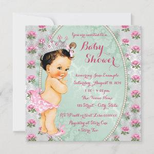 Mint Green and Pink Rose Baby Girl Shower Invitation