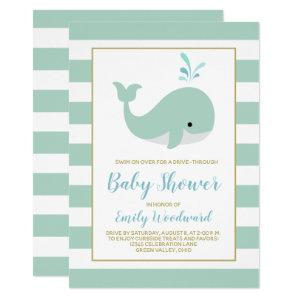 Mint Green Whale Drive-By Baby Shower Invitation