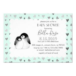 Mint Grey Hearts Penguins Baby Shower Invitations