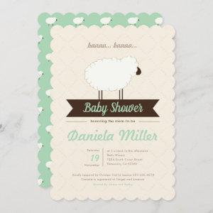 Mint Little Lamb Gender Neutral Baby Shower Invitation
