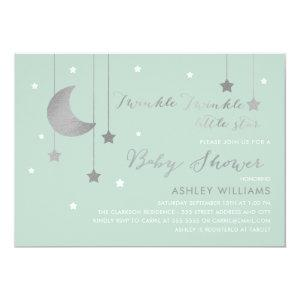 Mint Moon and Stars Baby Shower Invitation