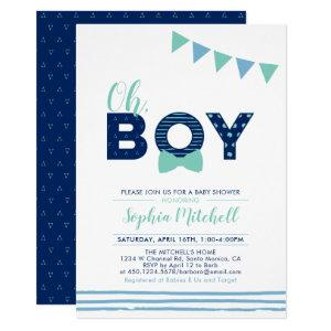 Mint & Navy | Modern Typography Boy Baby Shower Invitation