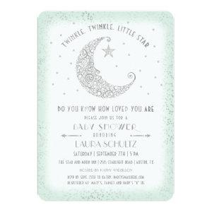 Mint Silver Twinkle Little Star Baby Shower Invitation